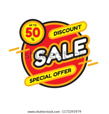 Sale discount up to 50% - concept banner vector illustration. Special offer abstract circle layout. Graphic design sticker.  #1173393979