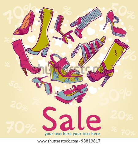 Sale discount woman shoes invitation card on colorful background