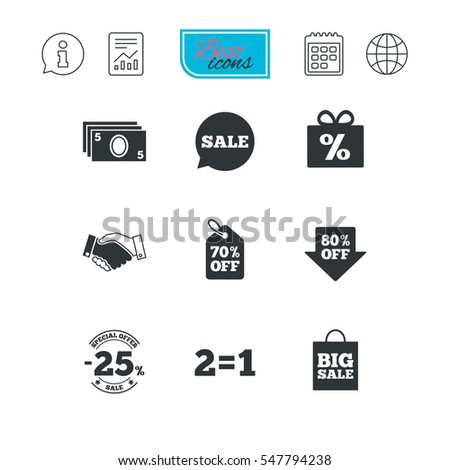 Sale discounts icon. Shopping, handshake and cash money signs. 25, 70 and 80 percent off. Special offer symbols. Report document, calendar and information web icons. Vector