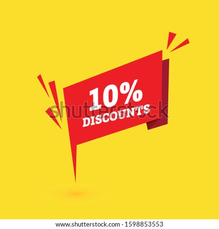 Sale discounts. Special offer price tags. 10 percent discount symbols. red banner. Vector
