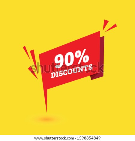 Sale discounts. Special offer price tags. 90 percent discount symbols. red banner. Vector