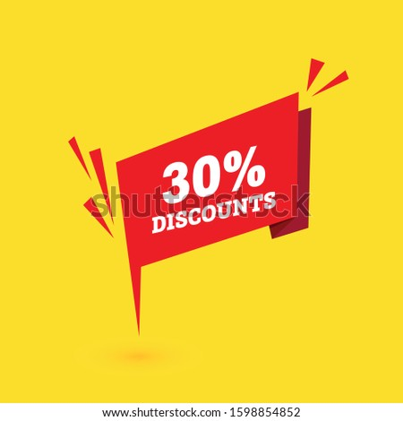Sale discounts. Special offer price tags. 30 percent discount symbols. red banner. Vector