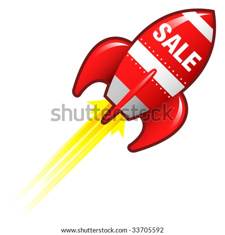 Sale e-commerce icon on red retro rocket ship illustration good for use as a button, in print materials, or in advertisements.