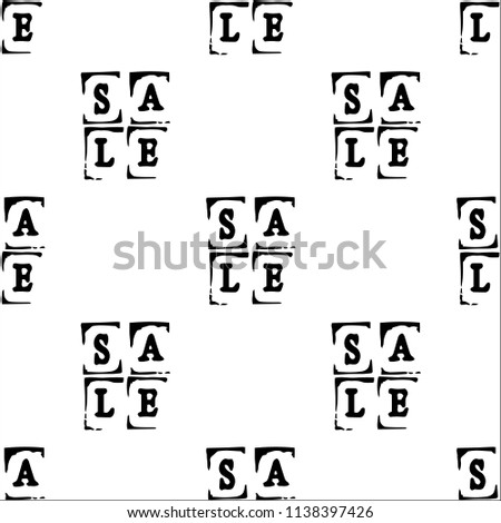 Sale. Event concept. Seamless Pattern. Letters of a word SALE - stamp. Black elements, white background #1138397426