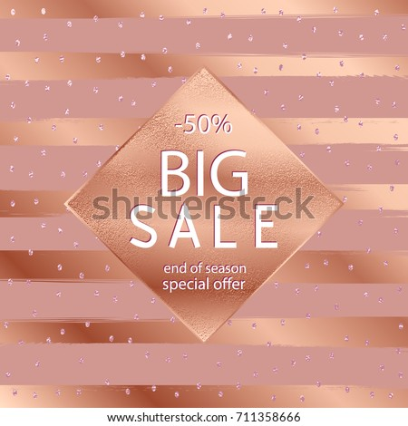 Sale fall . Copper glossy background. Metallic texture. Bronze metal. Trendy template for holiday designs, party, birthday, wedding, invitation, web banner card