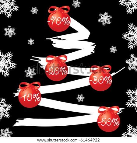 Sale fir tree on  black background, vector illustration