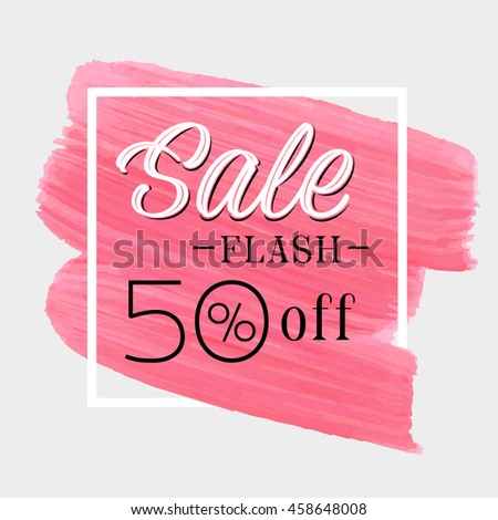 sale flash 50  off sign over