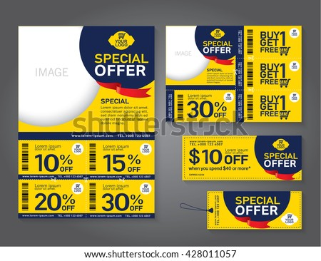 Sale flyer, promotions coupon or banner design with best discount offers, Template background size A4, A5, Vector EPS10.