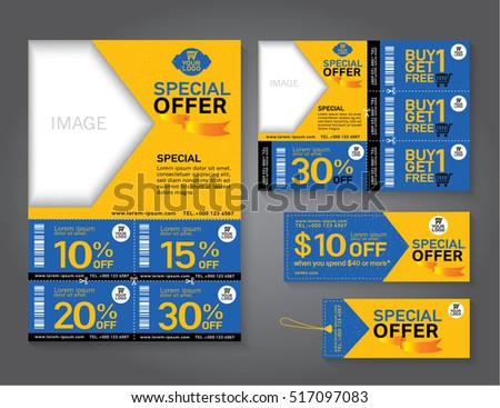 Sale Flyer, Promotions Coupon Or Banner Design With Best Discount Offers,  Template Background Size  Coupon Flyer Template