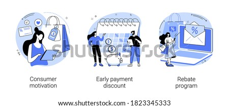 Sale growth strategy abstract concept vector illustration set. Consumer motivation, early payment discount, rebate program, customer loyalty, sales invoice, discount coupon abstract metaphor.