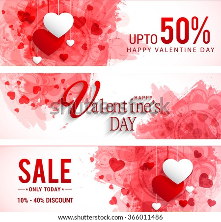 Sale header or banner set with discount offer for Happy Valentine\'s Day celebration.