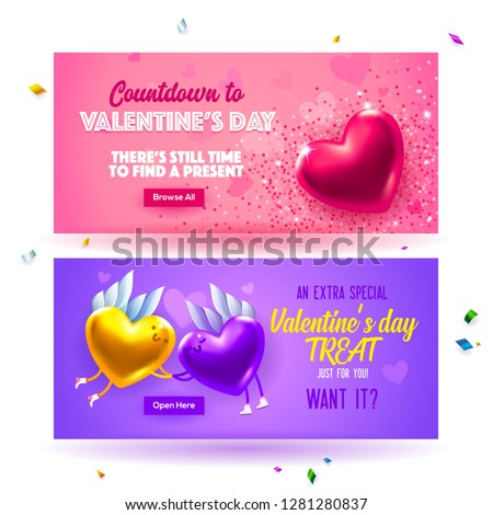 Sale header or banner set with discount offer for Happy Valentine's Day celebration. Cute love valentine sale banner