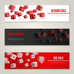 Sale Horizontal Banners Set. Vector Illustration. Design Template for Holiday Events. 3d Cubes with Percents. Original Festive Backdrop for Black Friday.