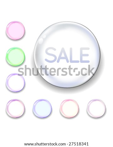 Sale icon on translucent glass orb vector button
