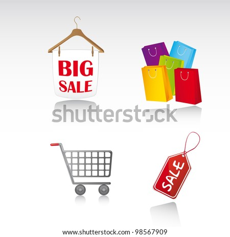 sale icons with shadow background. vector illustration