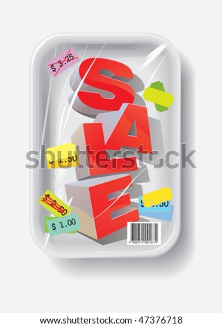 Sale in plastic container, vector illustration