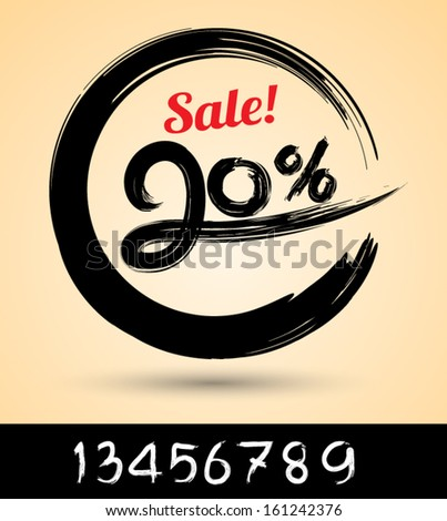 Sale ink drawn with numbers / can use for promotion.