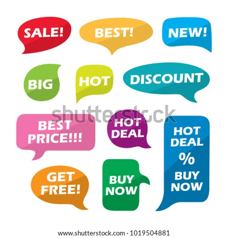 Sale Interactive multicolored bubble speech vector set
