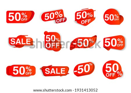 Sale label set giving fifty percent price off discount value. Red marketing tag with selling bargain announcement, clearance promotion message vector illustration isolated on white background