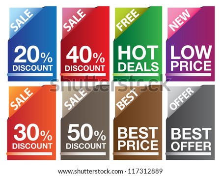 Sale labels in different colors and messages. Vector illustration.