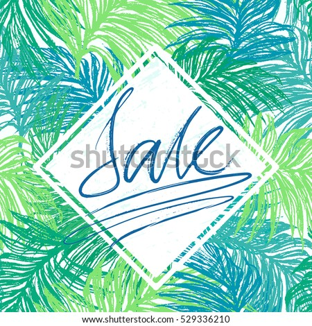 Sale lettering on jungle leaves background. Seasonal offer vector.