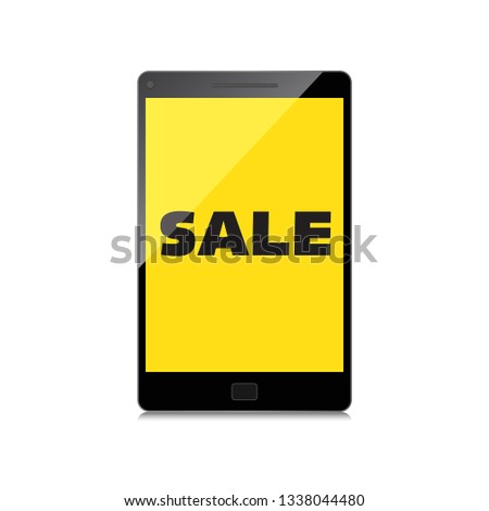 Sale, markdown, discount on High-quality smartphone screen. Reduced Prices. Special offer. Shopping badge with percentage discount.