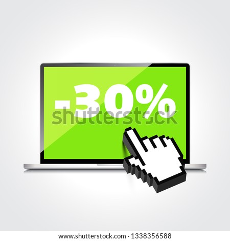 Sale, markdown, discount 30 percent on High-quality laptop screen. Reduced Prices. Special offer. Shopping badge with percentage discount.