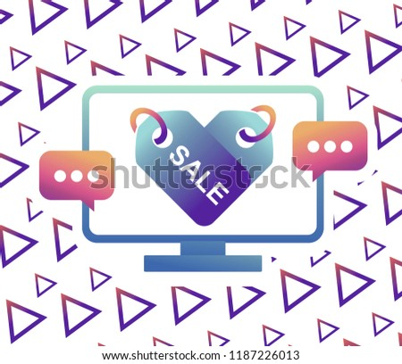 Sale, markdown, discount sale percent on High-quality computer display, monitor screen. Reduced Prices. Special offer. Shopping badge with percentage discount.