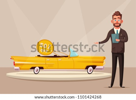 Sale of a new car. The seller at the car showroom shows the vehicle. Vector cartoon illustration