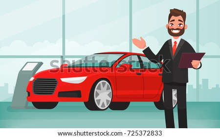 Sale of a new car. The seller at the car showroom shows the vehicle. Vector illustration in cartoon style