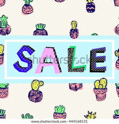 Sale of abstract characters and white hand-drawn frame on a background of blue zigzag and colored cacti hand-drawn