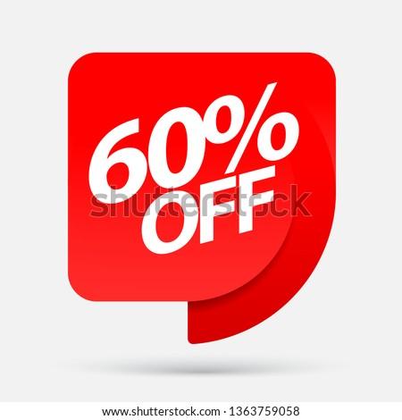 Sale of special offers. Discount with the price is 60 . An ad with a red tag for an advertising campaign at retail on the day of purchase. vector illustration