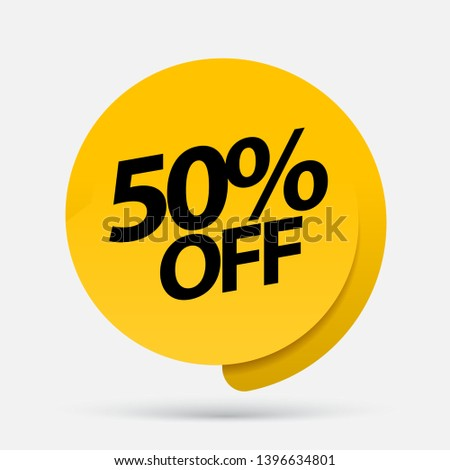 Sale of special offers. Discount with the price is 50 . An ad with a red tag for an advertising campaign at retail on the day of purchase. vector illustration #1396634801
