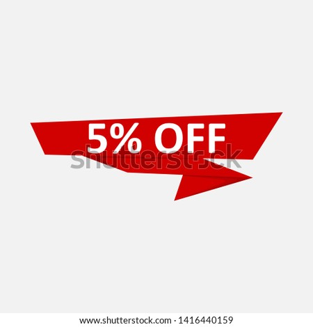 Sale of special offers. Discount with the price is 5. An ad with a red tag for an advertising campaign at retail on the day of purchase. #1416440159
