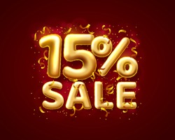 Sale 15 off ballon number on the red background. Vector illustration