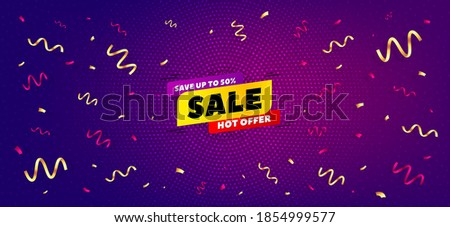 Sale 50% off banner. Festive confetti background with offer message. Discount sticker shape. Hot offer icon. Best advertising confetti banner. Sale 50% badge shape. Celebrate party background. Vector