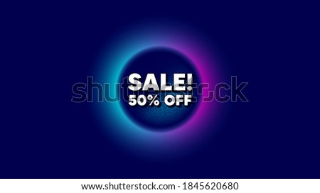 Sale 50% off discount. Abstract neon background with dotwork shape. Promotion price offer sign. Retail badge symbol. Offer neon banner. Sale badge. Space background with abstract planet. Vector