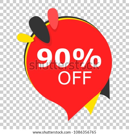 Sale 90% off discount price tag icon. Vector illustration on isolated transparent background. Business concept price discount pictogram.