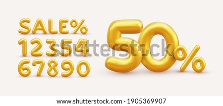 Sale off discount promotion set made of realistic numbers 3d gold helium balloons. Vector Illustration of balloon golden 50% percent discount collection for your unique selling poster, banner ads.