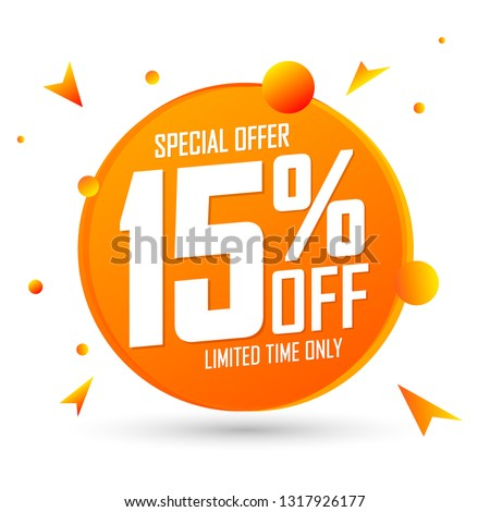 Sale 15% off, special offer, discount banner design template, promo tag, vector illustration