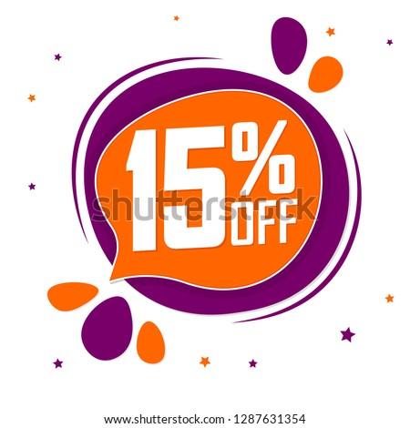 Sale 15% off tag, discount speech bubble banner design template, vector illustration