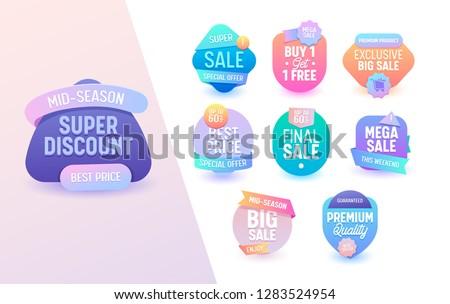 Sale Offer Geometric Colorful Mega Set. Online Advertising Campaign Special Price Offer Line Sticker Badge Geometric Design. Free Neon Tag Gradient Promotion Element 3d Vector Illustration