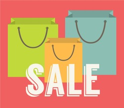 Sale offer. Sign written on a shopping bags. Flat design vector illustration.