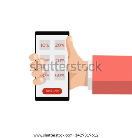 Sale online shopping, hand holding smartphone,discount label message. E-commerce, e commerce. Mobile payments,advertising customer information. Modern trendy flat design vector illustration