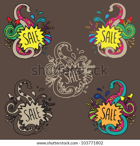 stock vector : Sale ornament doodle vector tag