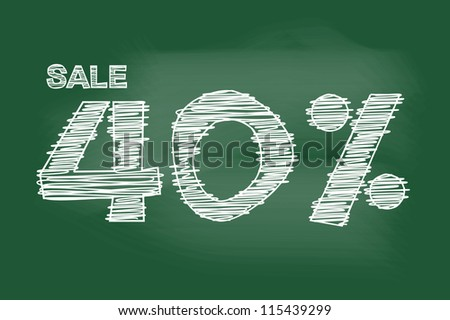 sale 40 percent drawing on blackboard
