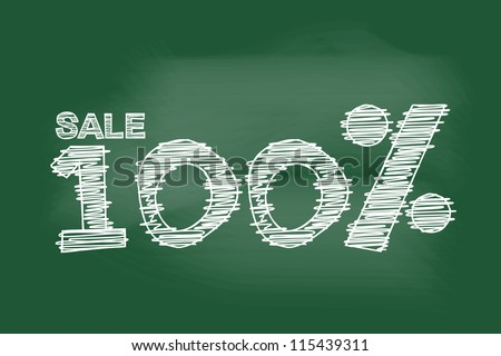 sale 100 percent drawing on blackboard