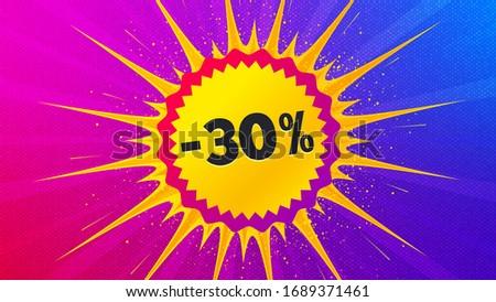 Sale 30 percent off badge. Flare light flash banner. Discount banner shape. Coupon bubble icon. Gradient shape background. Promotional flyer design. Sale 30% promotion. Vector