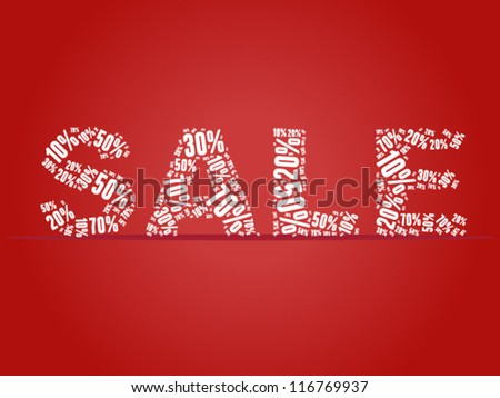 Sale percents composed in word collage