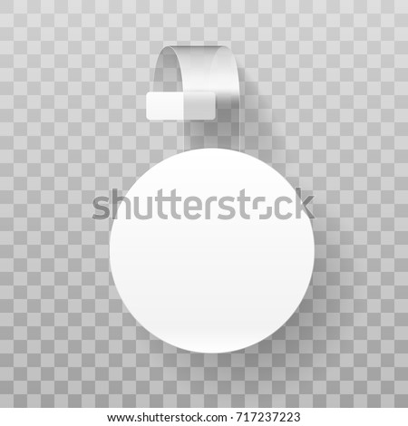Sale Point Tag. White Clear Round Supermarket Shelf Wobbler Label. EPS10 Vector
